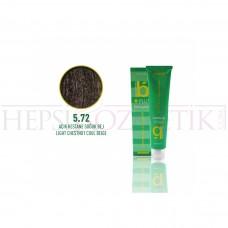 Bıorganic Plus Saç Boyası Açık Kestane Soğuk Bej 5,72 60 Ml