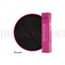 Nevacolor Premium Saç Boyası 3 Koyu Kahve 50 Ml