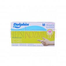 Dolphin Latex Eldiven M 100 Adet Pudralı